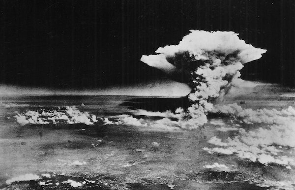 A mushroom cloud rose from Hiroshima, Japan, on Aug. 6, 1945, after the first atomic bomb was dropped by an American B-29 bomber.
