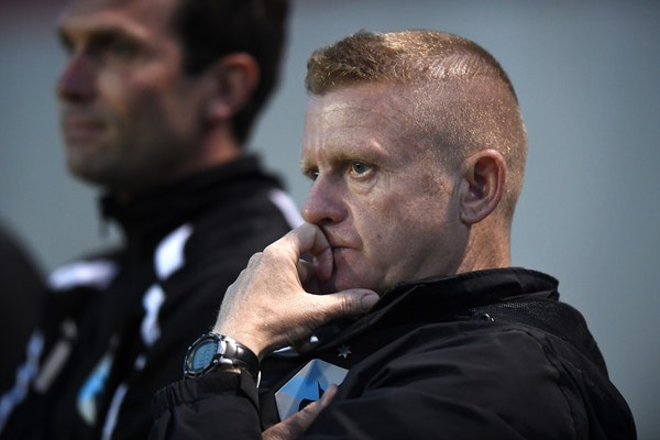 Minnesota United FC head coach Carl Craig watched the final minutes of the Loons' game on May 28 against the Tampa Bay Rowdies, which Minnesota lost 2