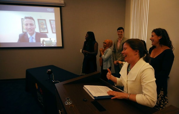 Minneapolis school board chair Jenny Arneson and board members talked with Ed Graff via Skype after he was selected as the new superintendent Tuesday
