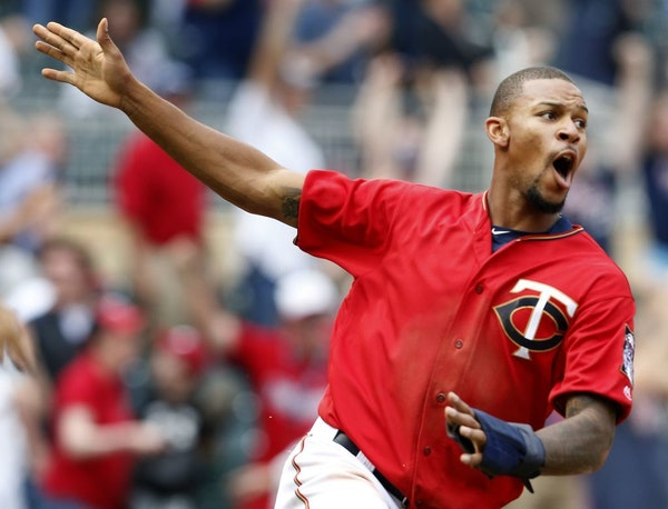 Byron Buxton celebrated after scoring the game-winning run on a hit by Oswaldo Arcia in the twelfth inning. Minnesota beat Los Angeles by a final scor
