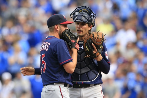 Glen Perkins, now on the disabled list, was comforted by catcher John Ryan Murphy, now in the minor leagues, after the Twins blew a late-game lead and
