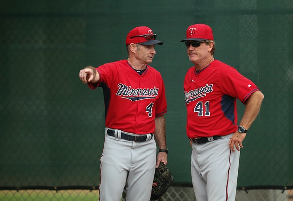 Twins pitching coach Neil Allen, right, and manager Paul Molitor during spring training.