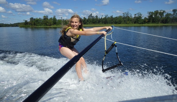 Kylie McClintick clung to a boom for balance during a water ski lesson at Madden's on Gull Lake.