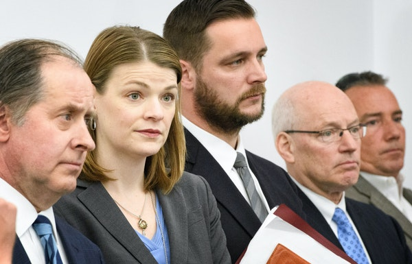 Key State Commissioners listened as Governor Dayton and Lt governor Tina Smith answered questions after House Speaker Kurt Daudt rejected the compromi