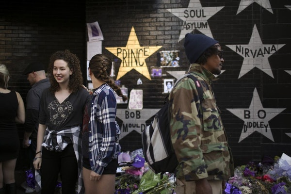 Prince's star on the wall of First Avenue has been painted gold, sometime overnight Wednesday.