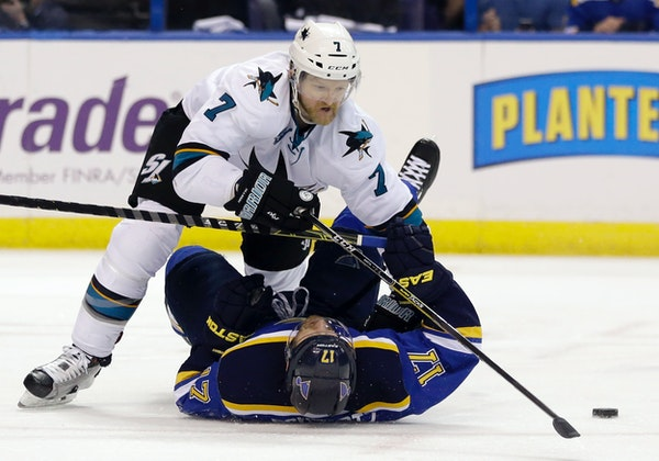 Defenseman Paul Martin (7) and the San Jose Sharks are playing the Pittsburgh Penguins -- for whom Martin played for five seasons -- for the Stanley C
