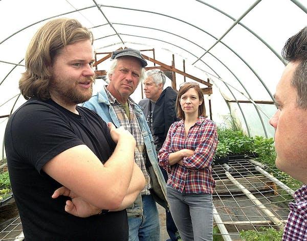 Magnus Nilsson talks with Greg Reynolds, Amy Thielen and Gavin Kaysen at Riverbend Farm in Delano.