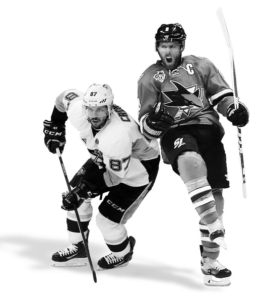 Penguins star Sidney Crosby has six goals and nine assists in 18 playoff games this spring. San Jose's Joe Pavelski has scored a league-leading 13 p
