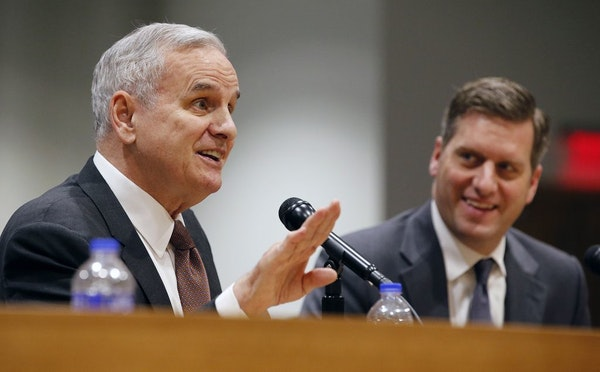 In a legislative preview at the Senate Office Building in St. Paul, Gov. Mark Dayton and House Speaker Kurt Daudt agreed to disagree while addressing