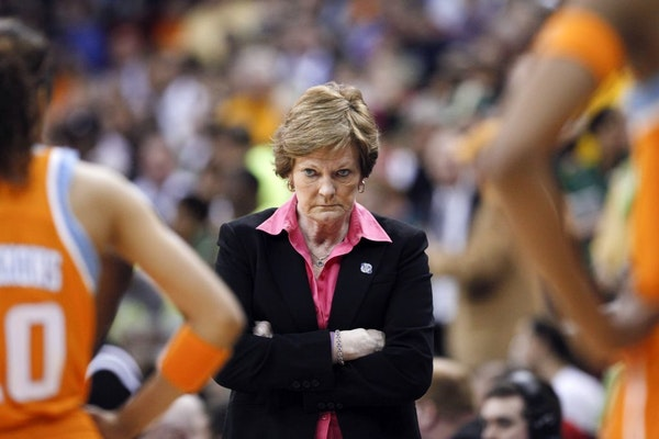 In this March 26, 2012, file photo, Tennessee coach Pat Summitt waits for her players during a timeout in the second half of an NCAA women's college b