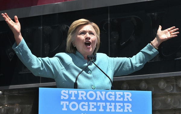 Democratic presidential candidate Hillary Clinton speaks at a rally in front of Boardwalk Hall in Atlantic City, N.J., on Wednesday.