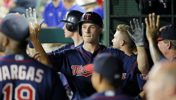 Twins outfielder Max Kepler was congratulated after his latest home run, a two-run shot in the a five-run eighth inning Thursday night at Texas.