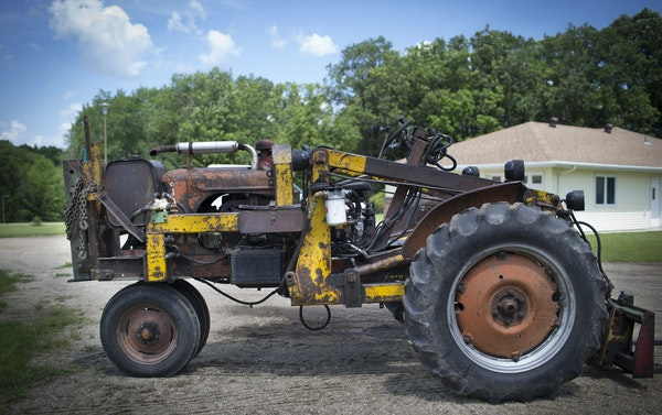 The 1947-model Allis Chalmers tractor re-engineered by farmer Duane Fuglie and photographed on Tuesday, June 23, 2015, in Ulen, Minn. This tractor kil