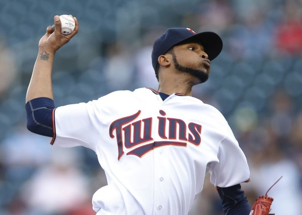 Minnesota Twins pitcher Ervin Santana throws against the Miami Marlins in the first inning of a baseball game Thursday, June 9, 2016, in Minneapolis.