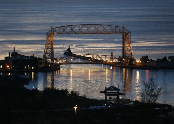 Sunrise over the Duluth harbor as seen from Skyline Parkway.