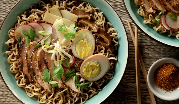 Flavorful chicken and hard-cooked eggs bolster ramen.