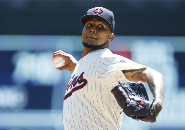 Minnesota Twins pitcher Ervin Santana throws against the Oakland Athletics in the first inning of a baseball game Wednesday, July 6, 2016, in Minneapo