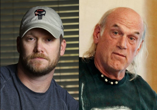 FILE - This combination of file photos shows Chris Kyle, left, former Navy SEAL and author of the book �American Sniper,� on April 6, 2012, and fo