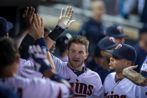 Left fielder Robbie Grossman has reached base via hit or walk in 26 of his 28 starts since joining the Twins.
