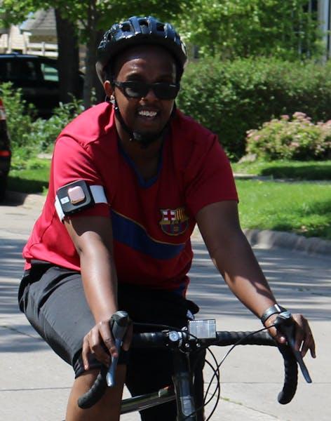 Minneapolis Health Department employee Ahmed Hashi rode through northeast Minneapolis wearing an air quality monitor.