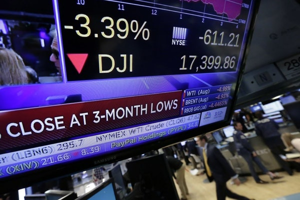 A television screen on the floor of the New York Stock Exchange shows the closing number for the Dow Jones industrial average Friday. The Dow dropped
