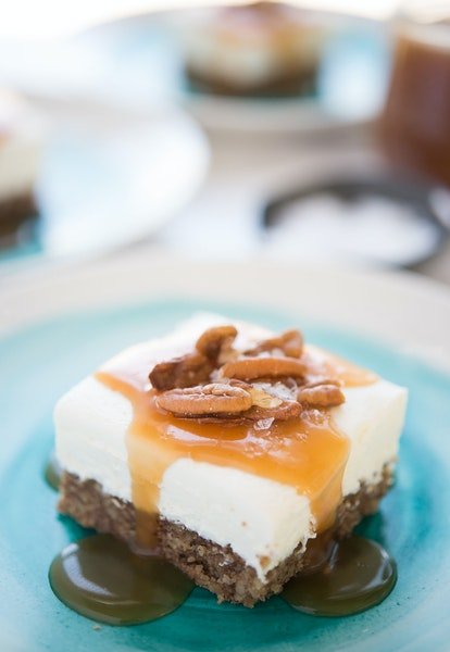 Labneh Cheesecake Bars With Salted Honey Sauce: A no-bake filling means youíll enjoy this delicious dessert that much faster.