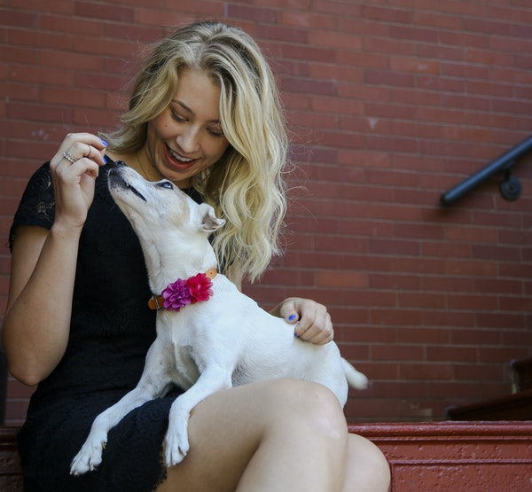 """Taylor Budensiek of Minneapolis with hospice dog Tabitha: """"I hope we have more time together, but whatever happens, she has been a blessing."""""""