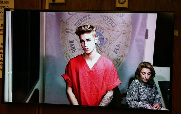 Justin Bieber appeared in court via video feed in Miami in January 2014.