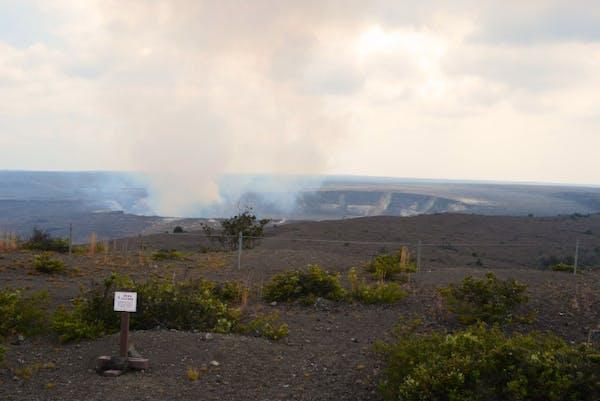 The volcano caldera at Volcanoes National Park on Hawaii still smolders.