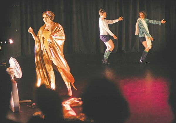 Stephanie Stoumbelis, Megan Mayer and Theresa Madaus performed at the tiny Red Eye Theater. The close quarters break down barriers between performers