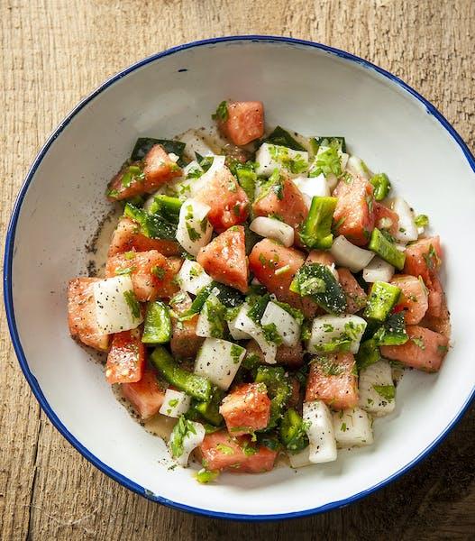 Watermelon Salad with Jalapeño-Lime Vinaigrette.