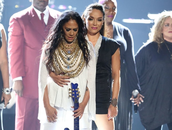 An emotional Sheila E., and Mayte Garcia, Prince's first wife, took a bow after their Prince salute at the end of Sunday's BET Awards. It was one of f