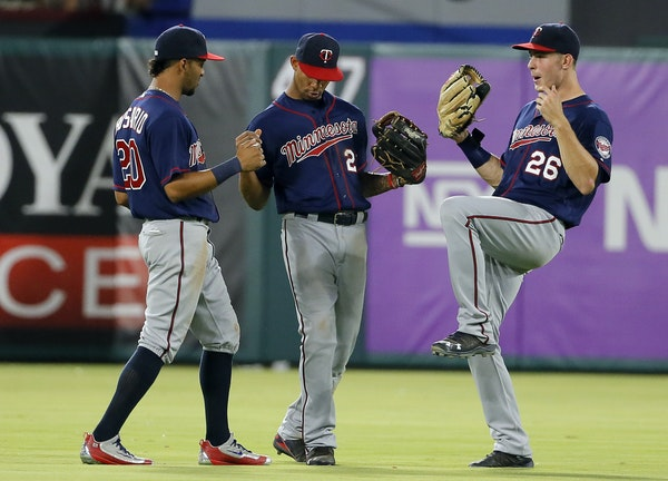 One highlight in the Twins' season has been its young outfield of, from left, Eddie Rosario (20), Byron Buxton (25) and Max Kepler, celebrating after