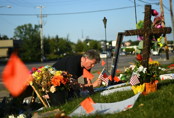 Victor Toso lives down the street from where Philando Castile was shot in Falcon Heights and each day tends to the memorial that has sprung up.