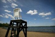 A view of the lifeguard's chair at Big Marine Park Reserve.