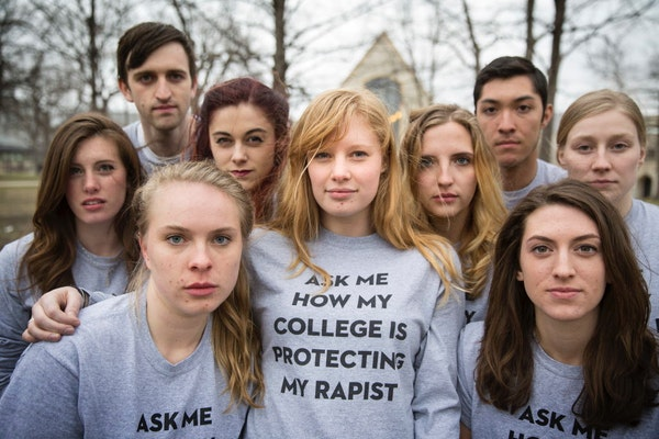 In this file photo, Madeline Wilson, center, led a protest this spring at St. Olaf College.