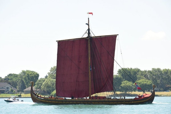 The Draken Harald Hårfagre, an 111-foot long Viking longboat which sails under the Norwegian flag, makes its way up the Detroit River on its way to B