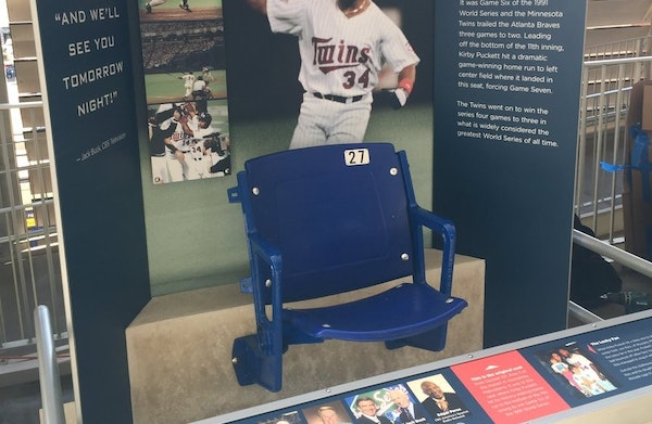 The seat where Kirby Puckett's Game 6 home run landed is part of an exhibit in the Twins' Digital Clubhouse at Target Field.