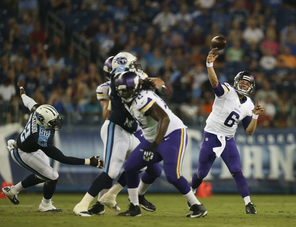 No. 3 quarterback candidate Taylor Heinicke started for the Vikings and played the whole game.