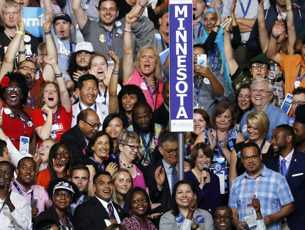 Sanders 47, Clinton 42: U.S. Sen. Amy Klobuchar and U.S. Rep. Keith Ellison, at lower right, sounded the roll call as Minnesota's wide-ranging deleg