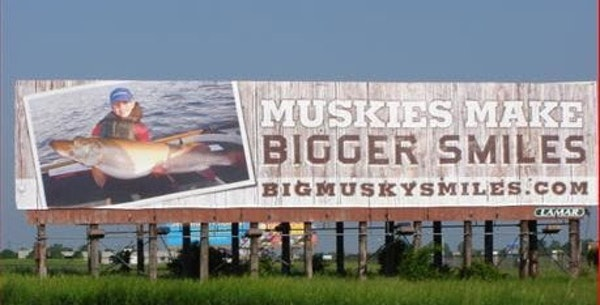 A billboard placed on I-94 near Monticello by Big Musky Smiles, a non-profit group that promotes muskie fishing.