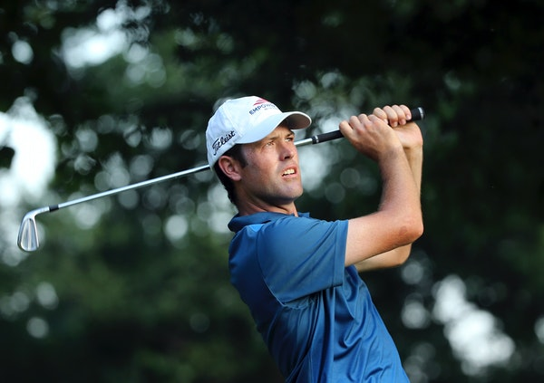 Robert Streb watches his tee shot on the eighth hole during the second round of the PGA Championship golf tournament at Baltusrol Golf Club in Springf