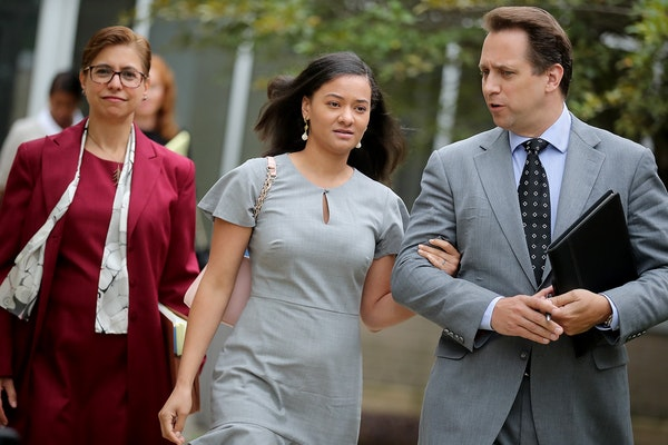 Brianna Nelson, center, left the Carver County Carver District Court in Chaska along with attorneys Lisa Braganza, left, and Andrew Stoltmann on Thurs