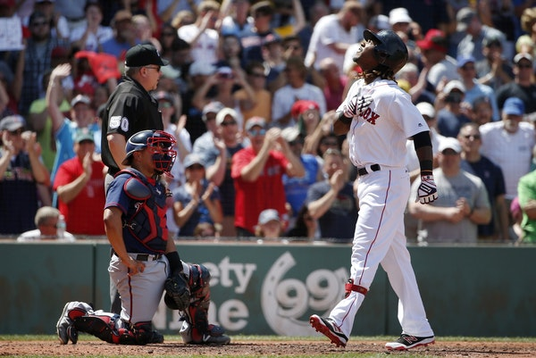 As Twins catcher Juan Centeno watched, Boston slugger Hanley Ramirez celebrated after hitting a three-run homer against the Twins for the second day i