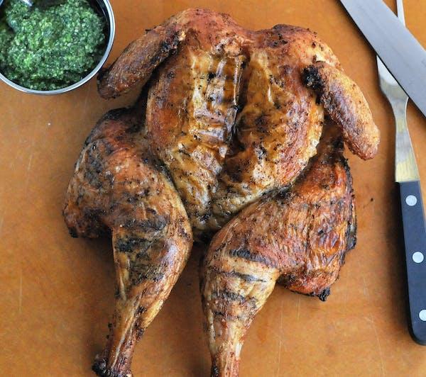 Grilled Chicken With Cilantro-Mint Pesto.