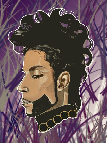 Juan Reed's portrait of Prince was selected for display on a utility box in the Central neighborhood.