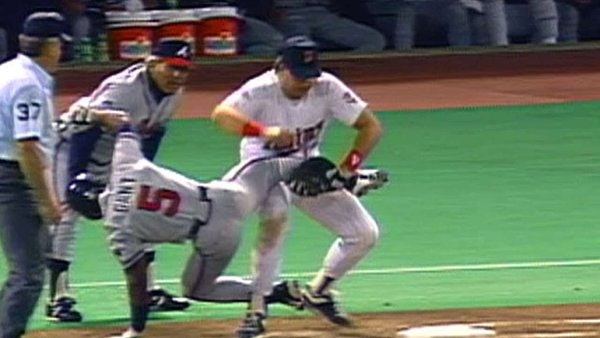The classic image from the 1991 World Series is from Game 2, when Atlanta's Ron Gant had just singled to left field. But he was tagged coming back to