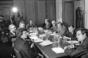 Members of the special Senate Committee created to investigate U.S. intelligence gathering agencies met at the Capitol in 1975.