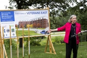 Minnesota Housing Commissioner Mary Tingerthal on Tuesday speaks at a ground breaking ceremony for 100-units of efficiency housing on the Minneapolis