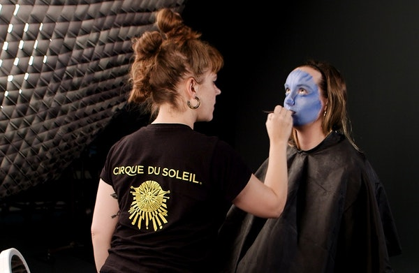 """Cirque wardrobe assistant and Twin Cities native Ali Schwalbe transform Star Tribune intern Mary Kate Metivier into Na'vi from """"Avatar."""""""